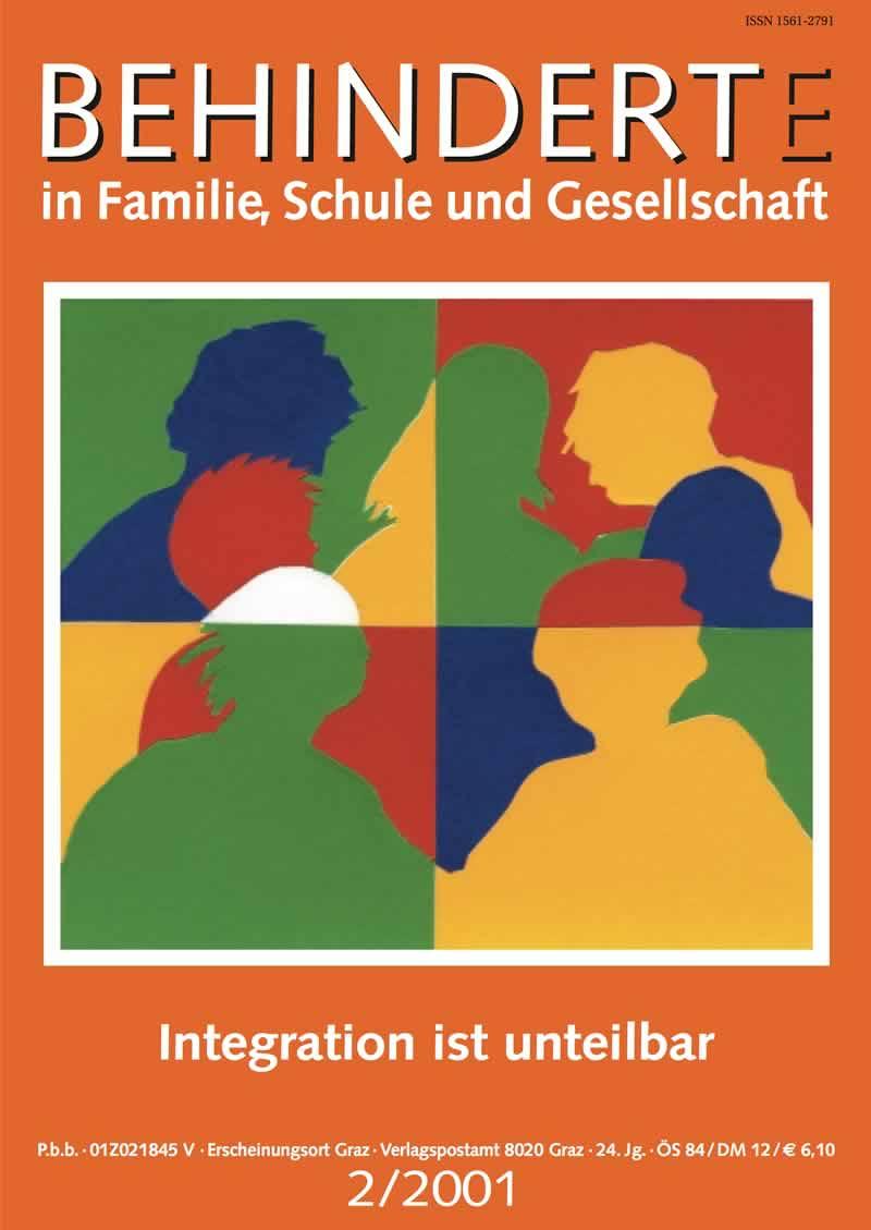 """Titelbild der Zeitschrift BEHINDERTE MENSCHEN, Ausgabe 2/2001 """"Integration ist unteilbar"""""""
