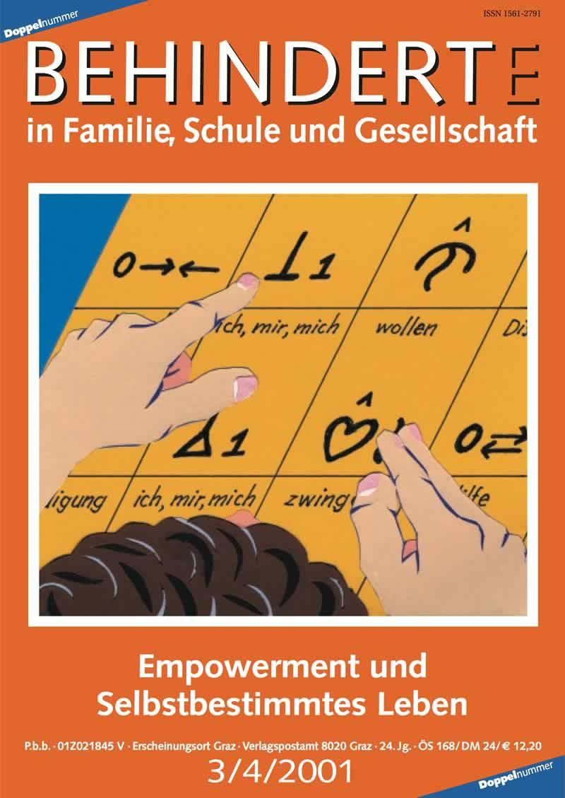 """Titelbild der Zeitschrift BEHINDERTE MENSCHEN, Ausgabe 3/4/2001 """"Empowerment und Selbstbestimmtes Leben"""""""