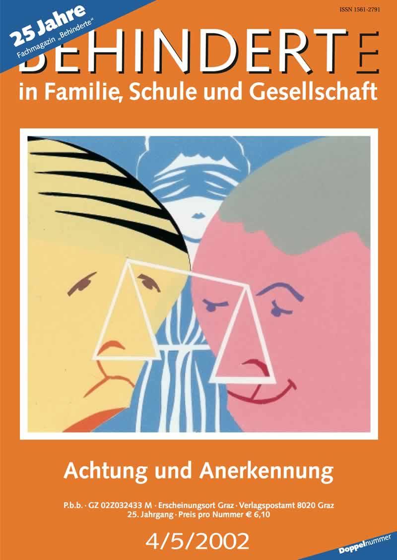 """Titelbild der Zeitschrift BEHINDERTE MENSCHEN, Ausgabe 4/5/2002 """"Achtung und Anerkennung"""""""