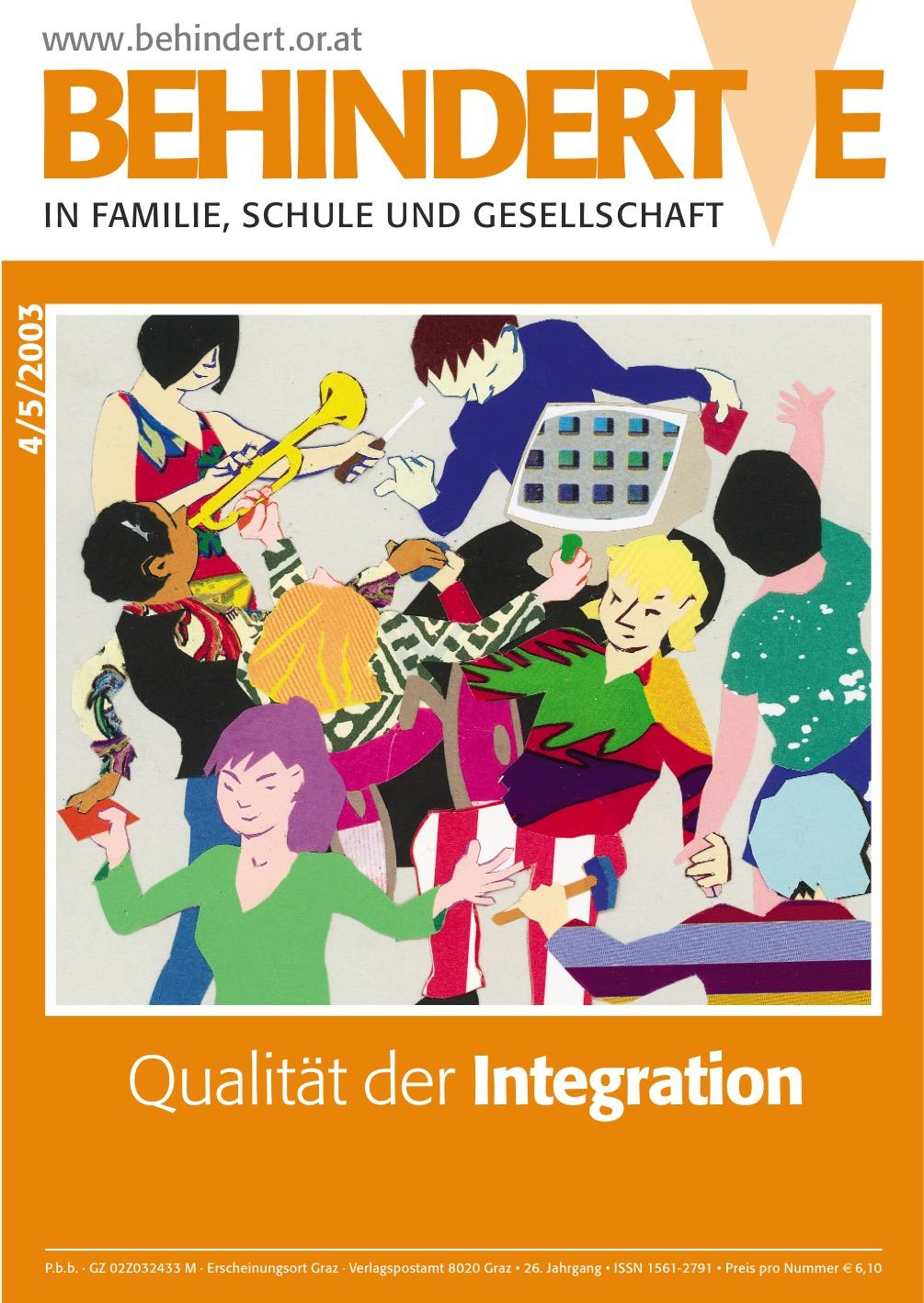 """Titelbild der Zeitschrift BEHINDERTE MENSCHEN, Ausgabe 4/5/2003 """"Qualität der Integration"""""""