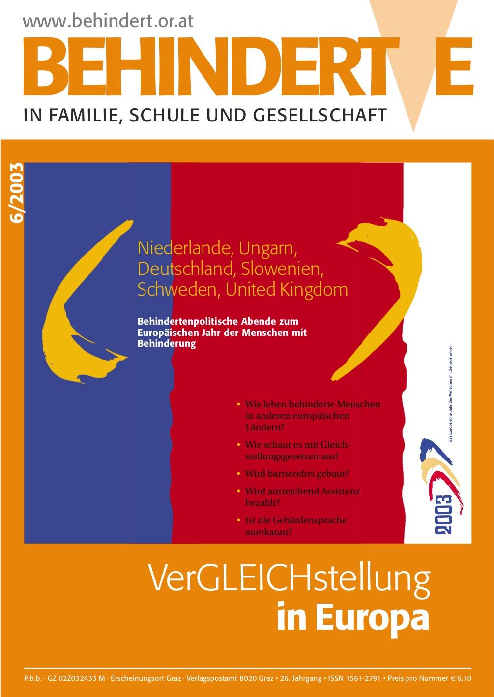 """Titelbild der Zeitschrift BEHINDERTE MENSCHEN, Ausgabe 6/2003 """"VerGLEICHstellung in Europa"""""""
