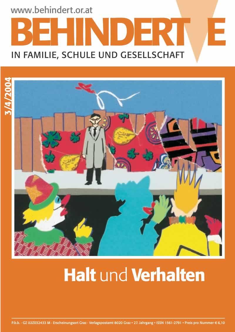 """Titelbild der Zeitschrift BEHINDERTE MENSCHEN, Ausgabe 3/4/2004 """"Halt und Verhalten"""""""