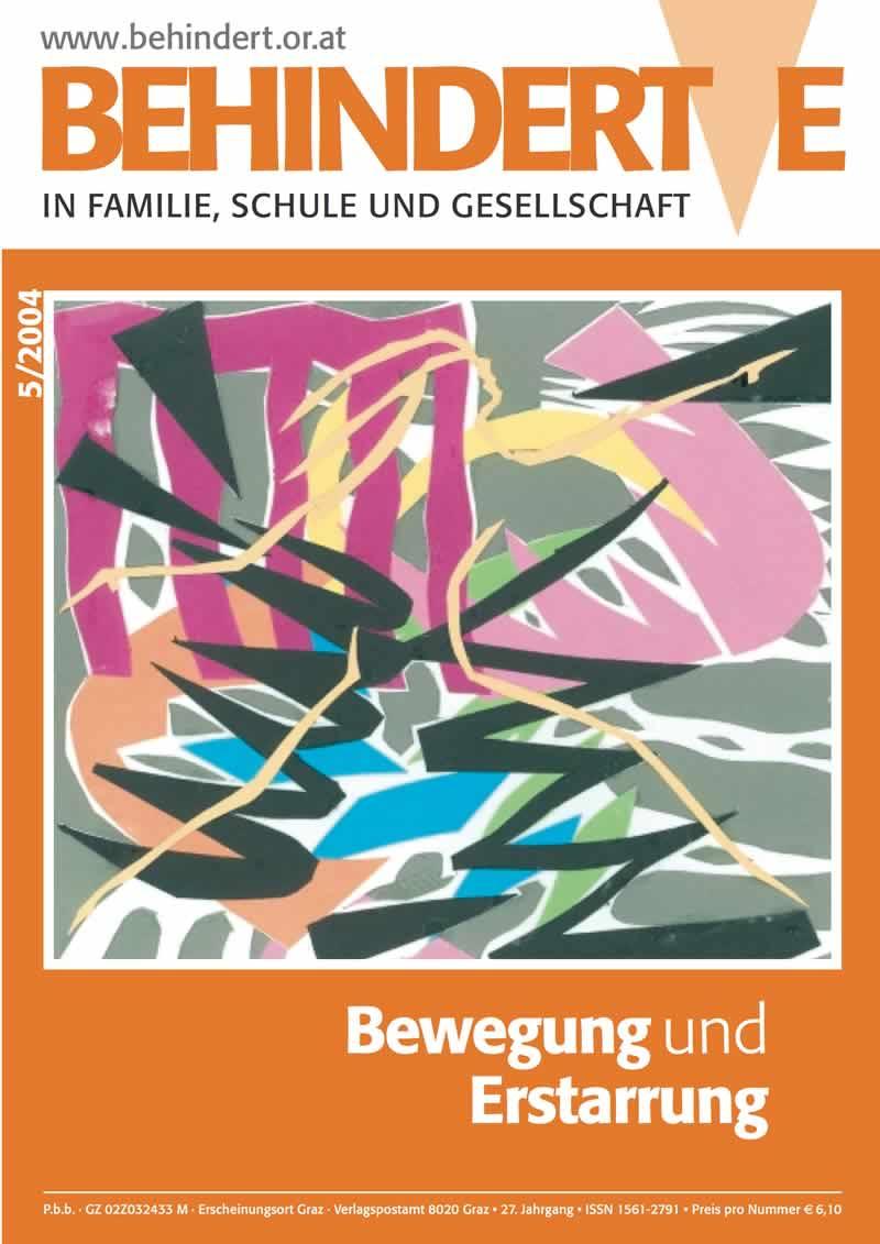 """Titelbild der Zeitschrift BEHINDERTE MENSCHEN, Ausgabe 5/2004 """"Bewegung und Erstarrung"""""""