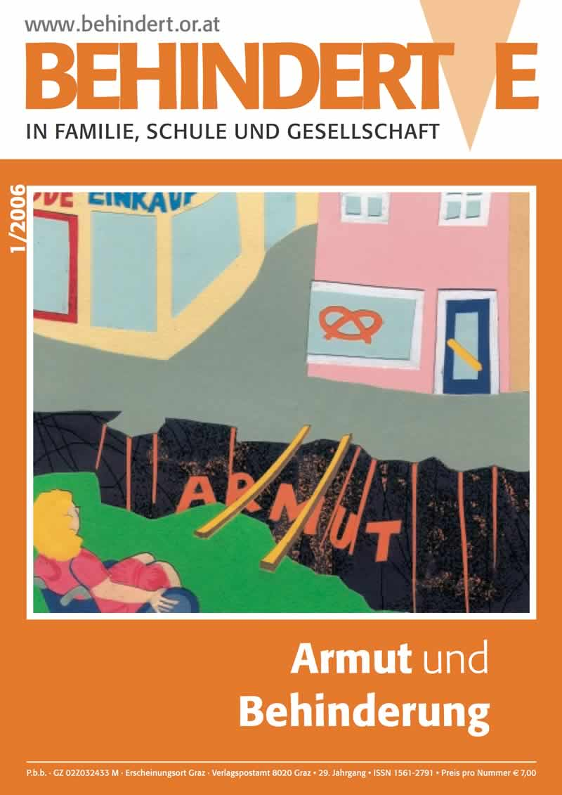 """Titelbild der Zeitschrift BEHINDERTE MENSCHEN, Ausgabe 1/2006 """"Armut und Behinderung"""""""