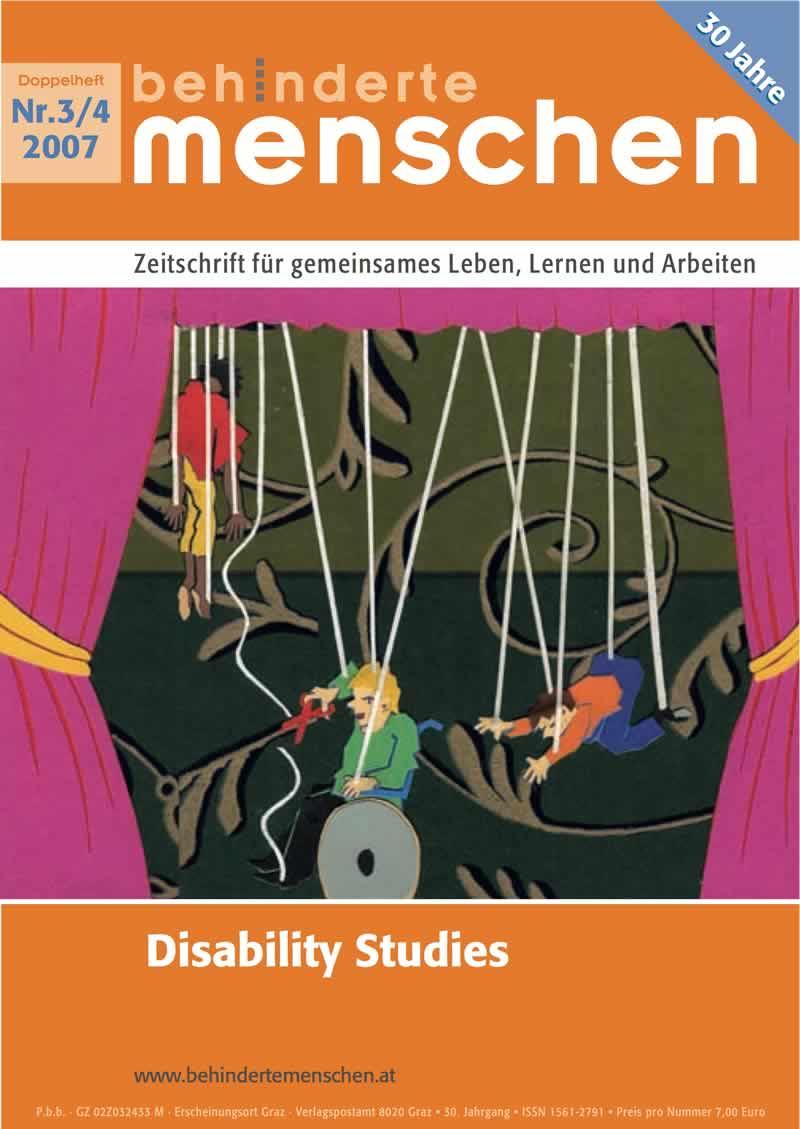 """Titelbild der Zeitschrift BEHINDERTE MENSCHEN, Ausgabe 3/4/2007 """"Disability Studies"""""""