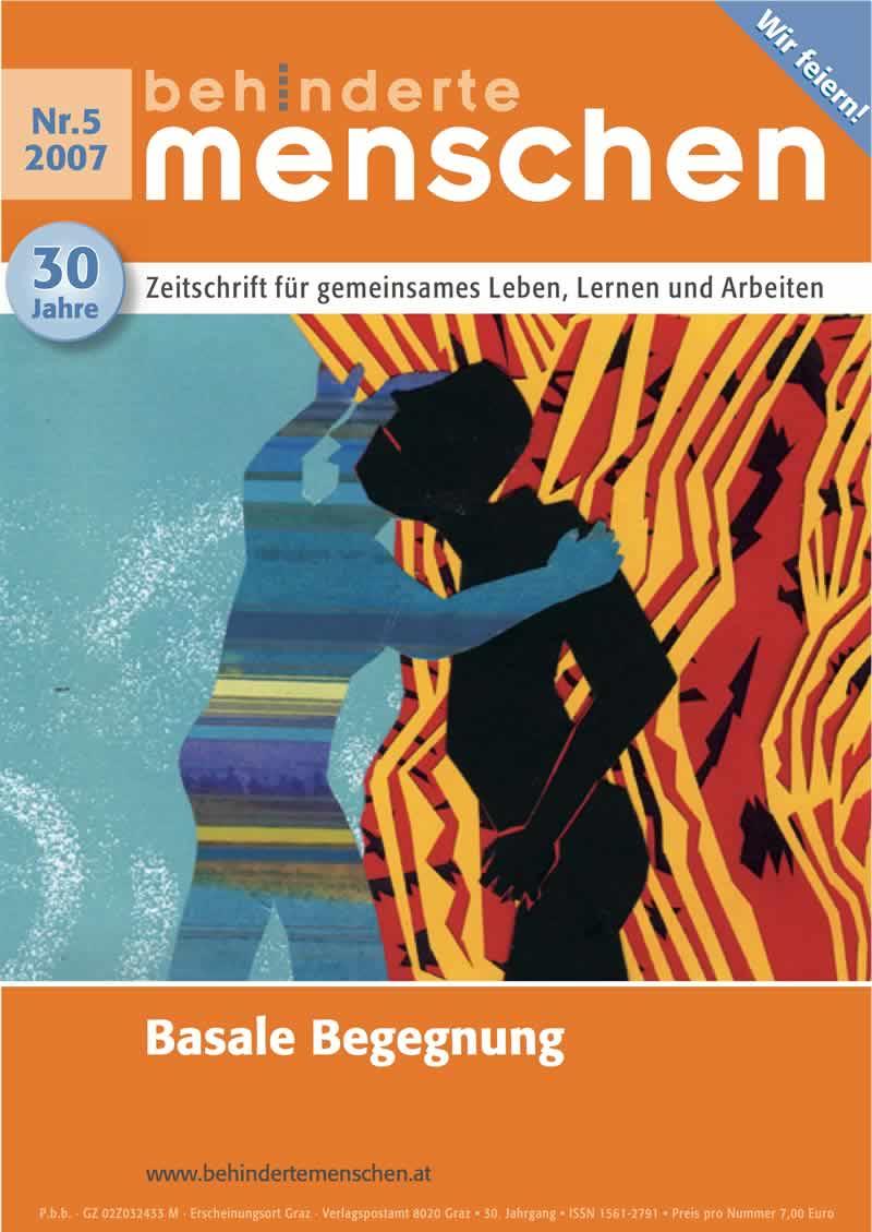 """Titelbild der Zeitschrift BEHINDERTE MENSCHEN, Ausgabe 5/2007 """"Basale Begegnung"""""""
