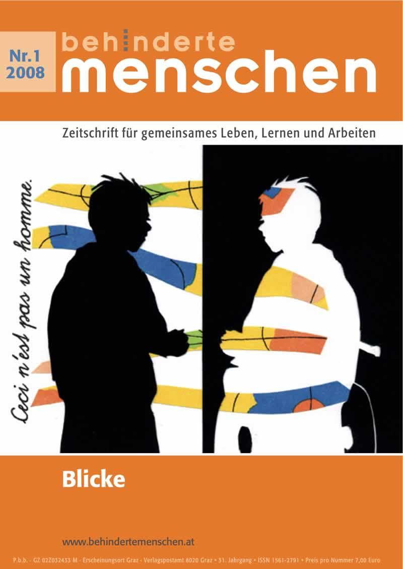 """Titelbild der Zeitschrift BEHINDERTE MENSCHEN, Ausgabe 1/2008 """"Blicke"""""""