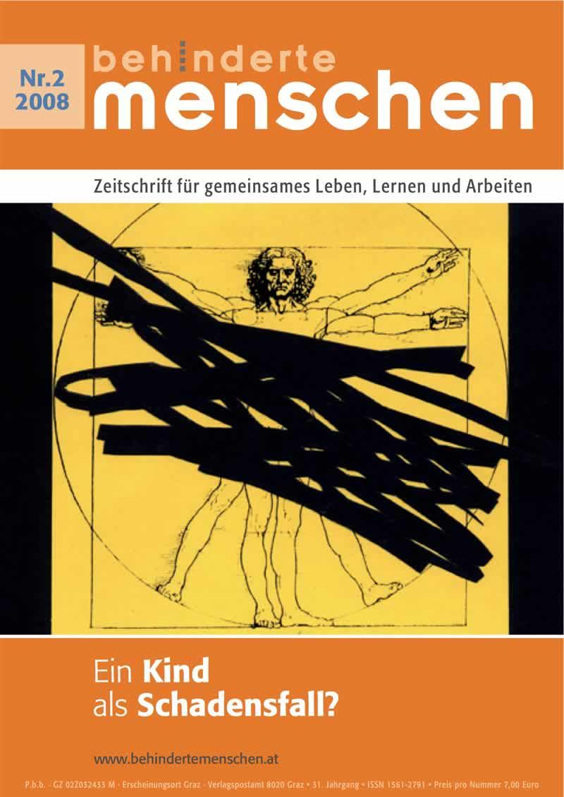 """Titelbild der Zeitschrift BEHINDERTE MENSCHEN, Ausgabe 2/2008 """"Ein Kind als Schadensfall?"""""""