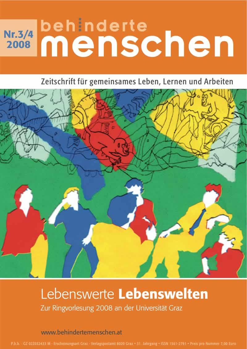 """Titelbild der Zeitschrift BEHINDERTE MENSCHEN, Ausgabe 3/4/2008 """"Disability Studies"""""""