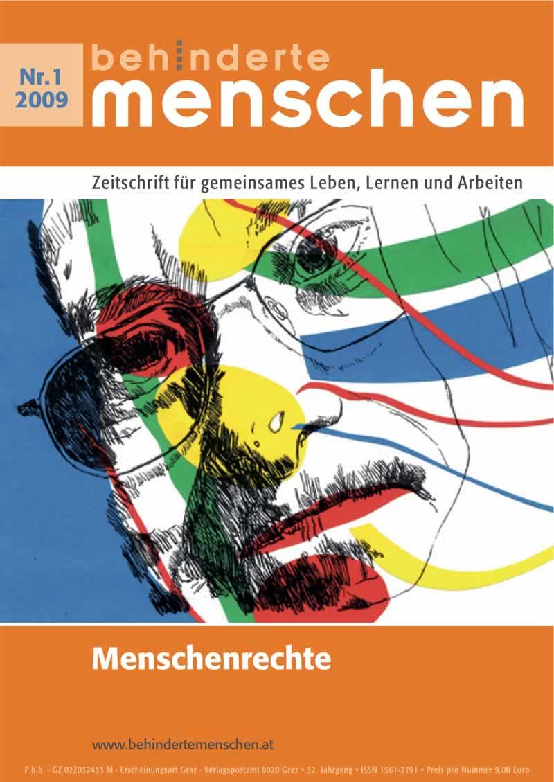 """Titelbild der Zeitschrift BEHINDERTE MENSCHEN, Ausgabe 1/2009 """"Menschenrechte"""""""