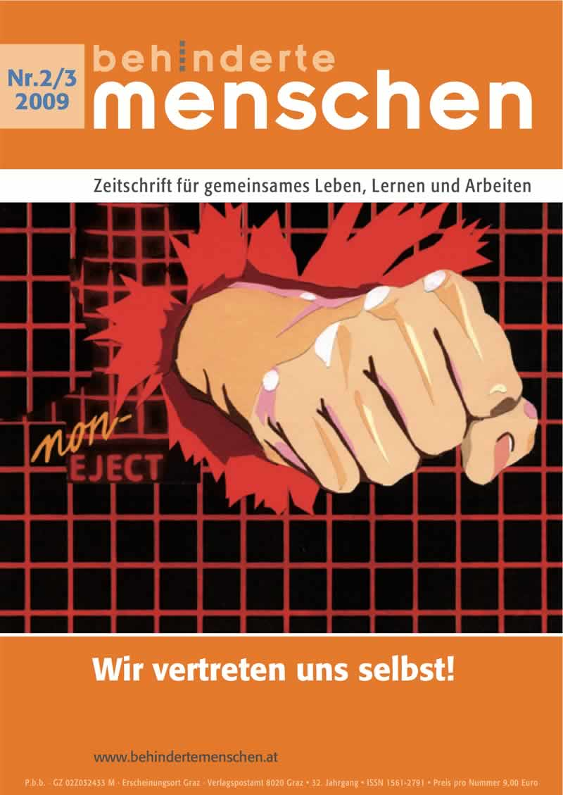 """Titelbild der Zeitschrift BEHINDERTE MENSCHEN, Ausgabe 2/3/2009 """"Wir vertreten uns selbst!"""""""