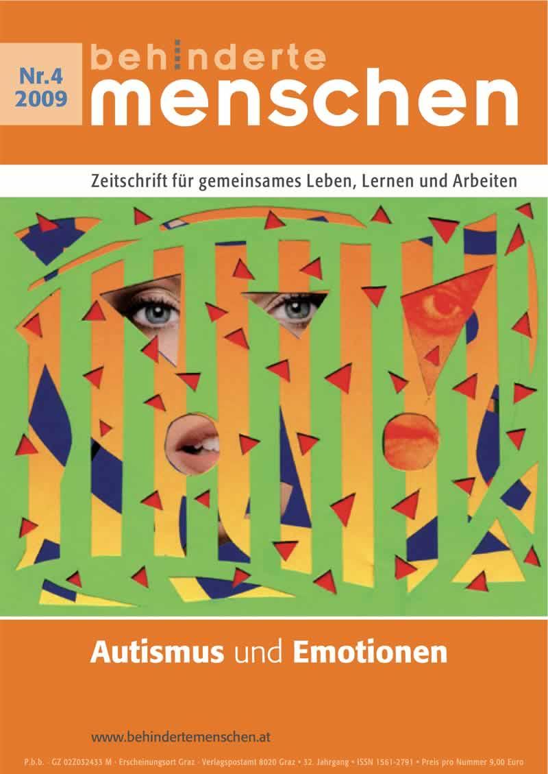 """Titelbild der Zeitschrift BEHINDERTE MENSCHEN, Ausgabe 4/2009 """"Autismus und Emotionen"""""""