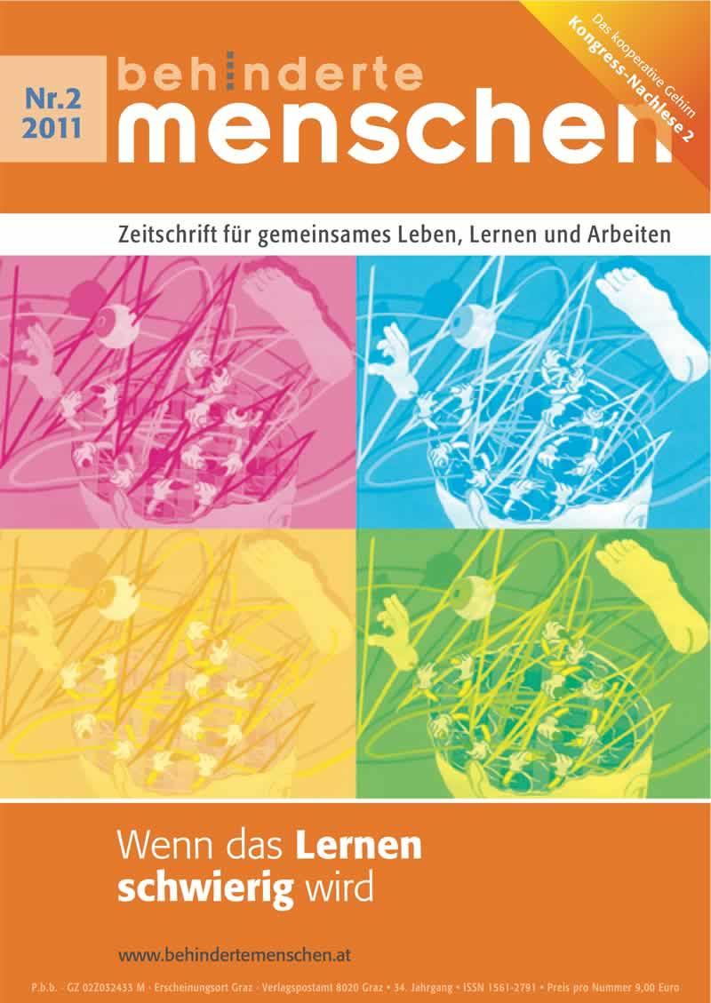 """Titelbild der Zeitschrift BEHINDERTE MENSCHEN, Ausgabe 2/2011 """"Wenn das Lernen schwierig wird"""""""