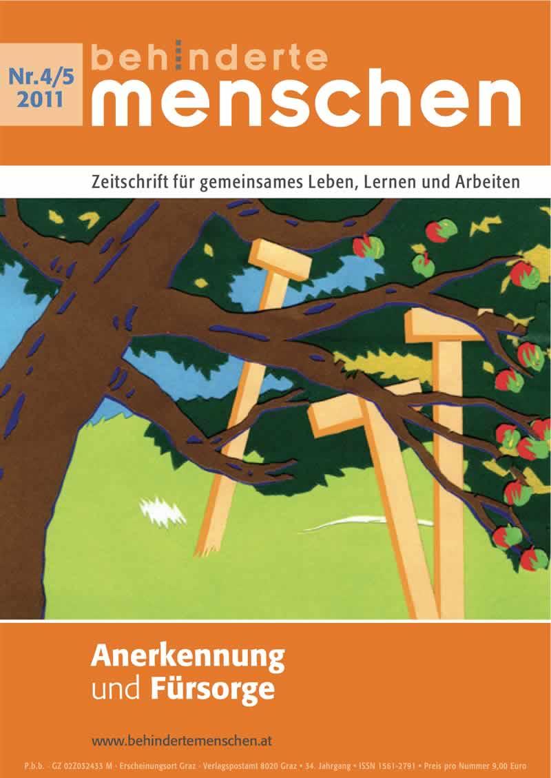 """Titelbild der Zeitschrift BEHINDERTE MENSCHEN, Ausgabe 4/5/2011 """"Anerkennung und Fürsorge"""""""