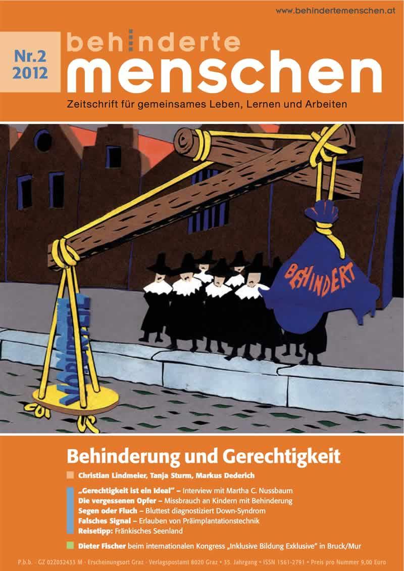 """Titelbild der Zeitschrift BEHINDERTE MENSCHEN, Ausgabe 2/2012 """"Behinderung und Gerechtigkeit"""""""