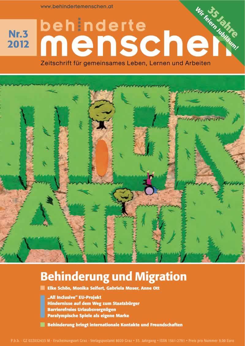 """Titelbild der Zeitschrift BEHINDERTE MENSCHEN, Ausgabe 3/2012 """"Behinderung und Migration"""""""