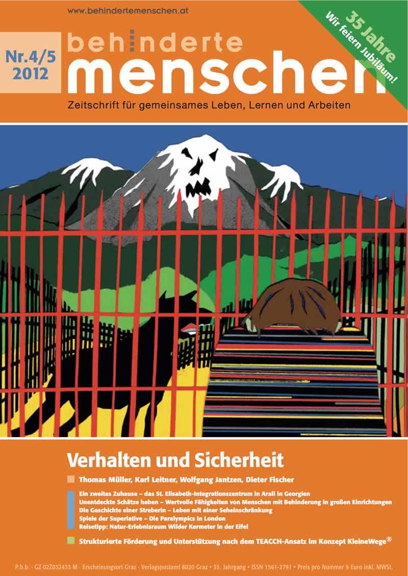 """Titelbild der Zeitschrift BEHINDERTE MENSCHEN, Ausgabe 4/5/2012 """"Verhalten und Sicherheit"""""""