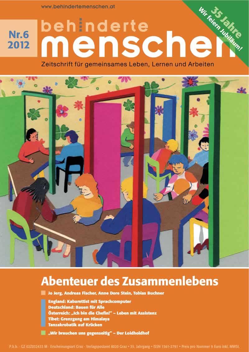"""Titelbild der Zeitschrift BEHINDERTE MENSCHEN, Ausgabe 6/2012 """"Abenteuer des Zusammenlebens"""""""