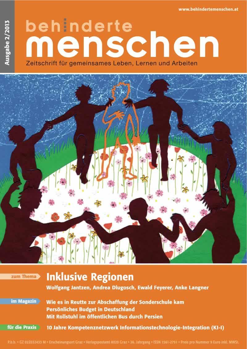 """Titelbild der Zeitschrift BEHINDERTE MENSCHEN, Ausgabe 2/2013 """"Inklusive Regionen"""""""