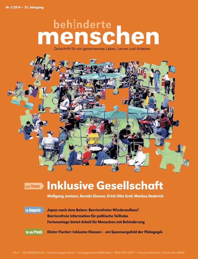 """Titelbild der Zeitschrift BEHINDERTE MENSCHEN, Ausgabe 1/2014 """"Inklusive Gesellschaft"""""""