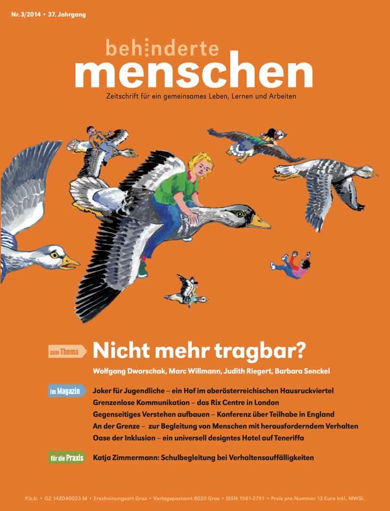 """Titelbild der Zeitschrift BEHINDERTE MENSCHEN, Ausgabe 3/2014 """"Nicht mehr tragbar?"""""""