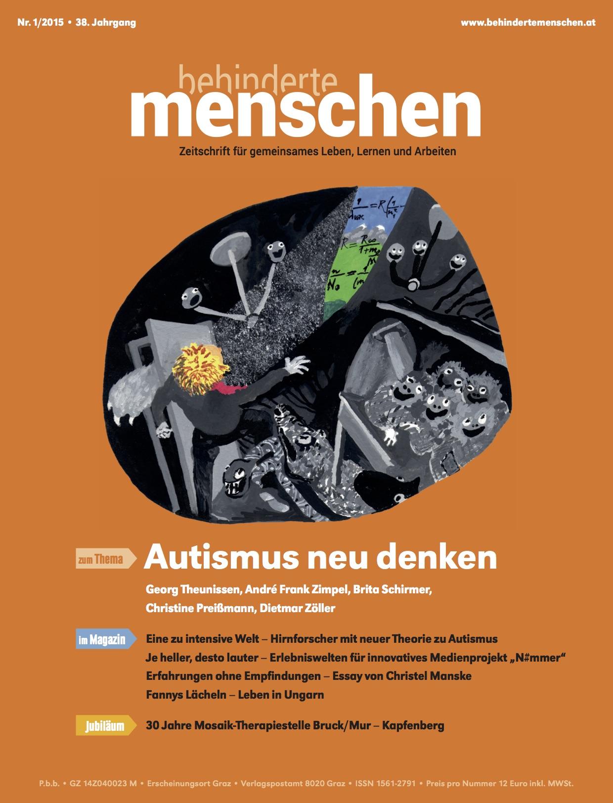 """Titelbild der Zeitschrift BEHINDERTE MENSCHEN, Ausgabe 1/2015 """"Autismus neu denken"""""""