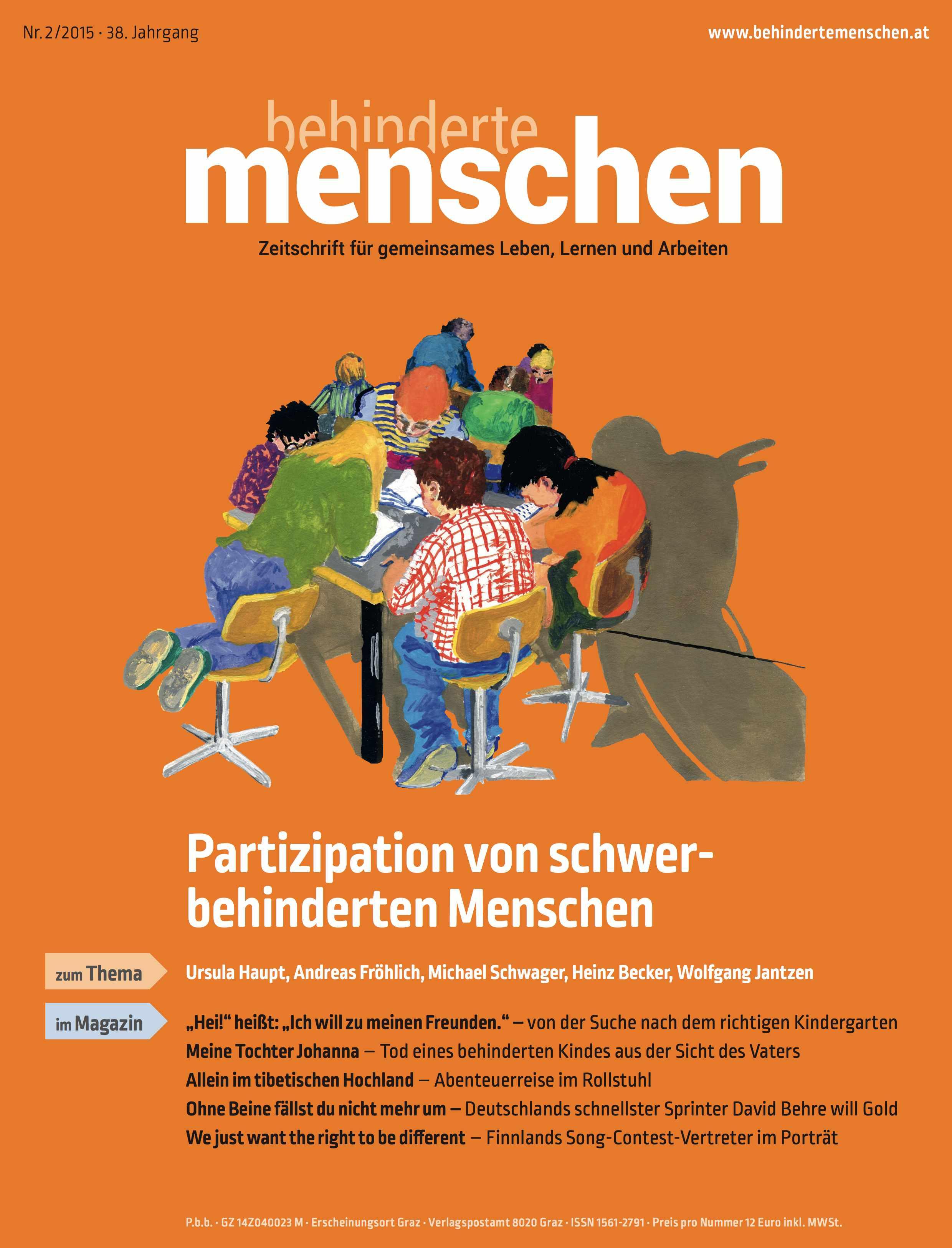 """Titelbild der Zeitschrift BEHINDERTE MENSCHEN, Ausgabe 2/2015 """"Partizipation von schwerbehinderten Menschen"""""""