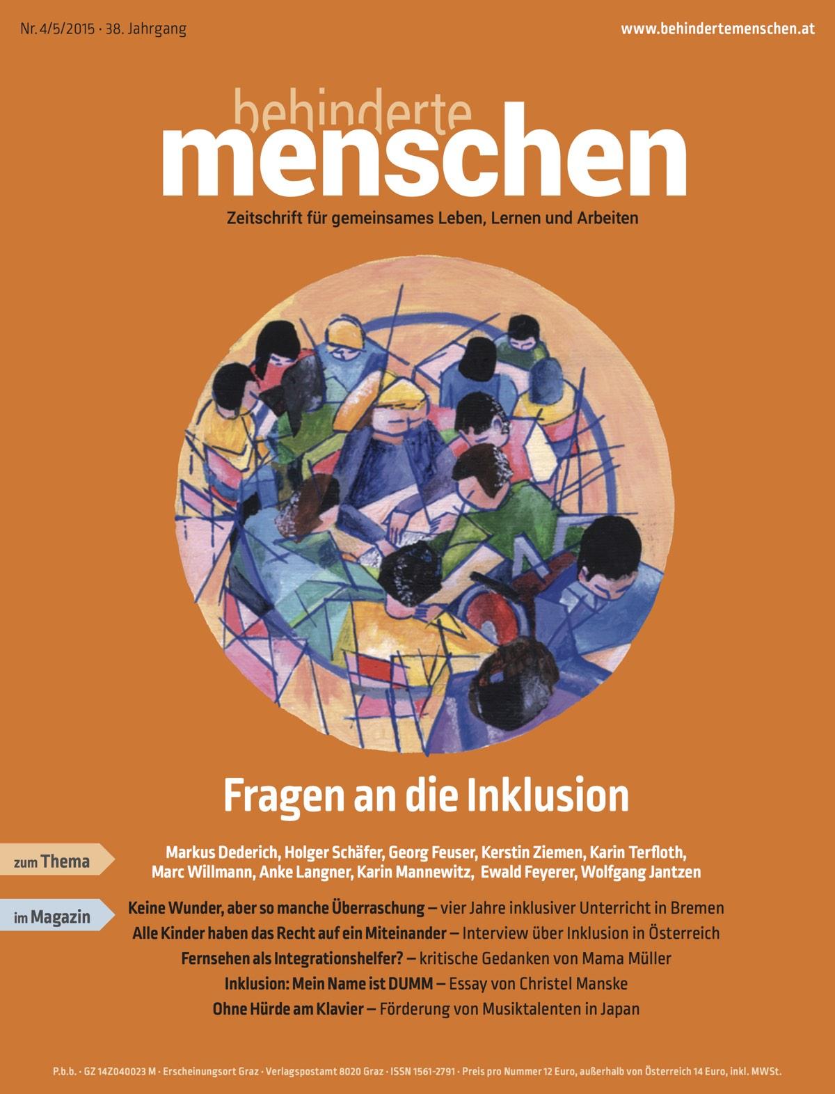 """Titelbild der Zeitschrift BEHINDERTE MENSCHEN, Ausgabe 4/5/2015 """"Fragen an die Inklusion"""""""