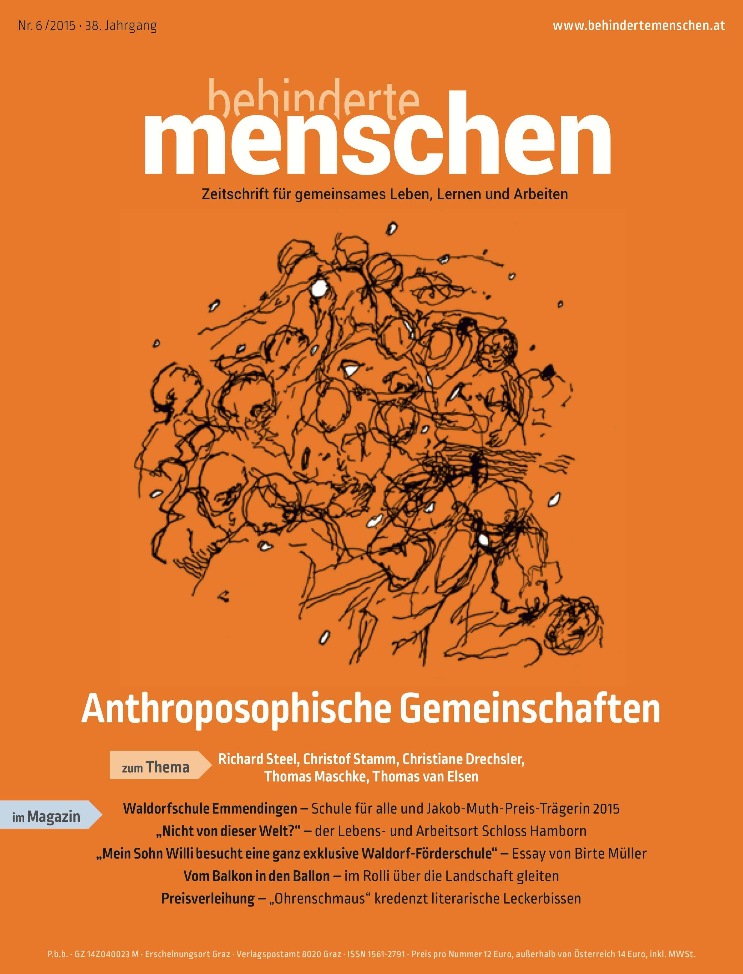 """Titelbild der Zeitschrift BEHINDERTE MENSCHEN, Ausgabe 6/2015 """"Anthroposophische Gemeinschaften"""""""