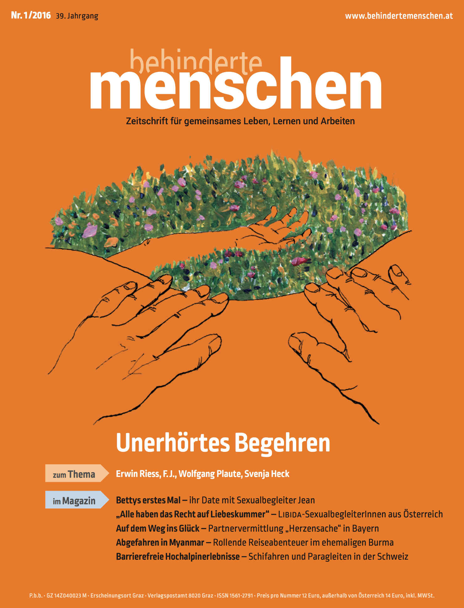 """Titelbild der Zeitschrift BEHINDERTE MENSCHEN, Ausgabe 1/2016 """"Unerhörtes Begehren"""""""