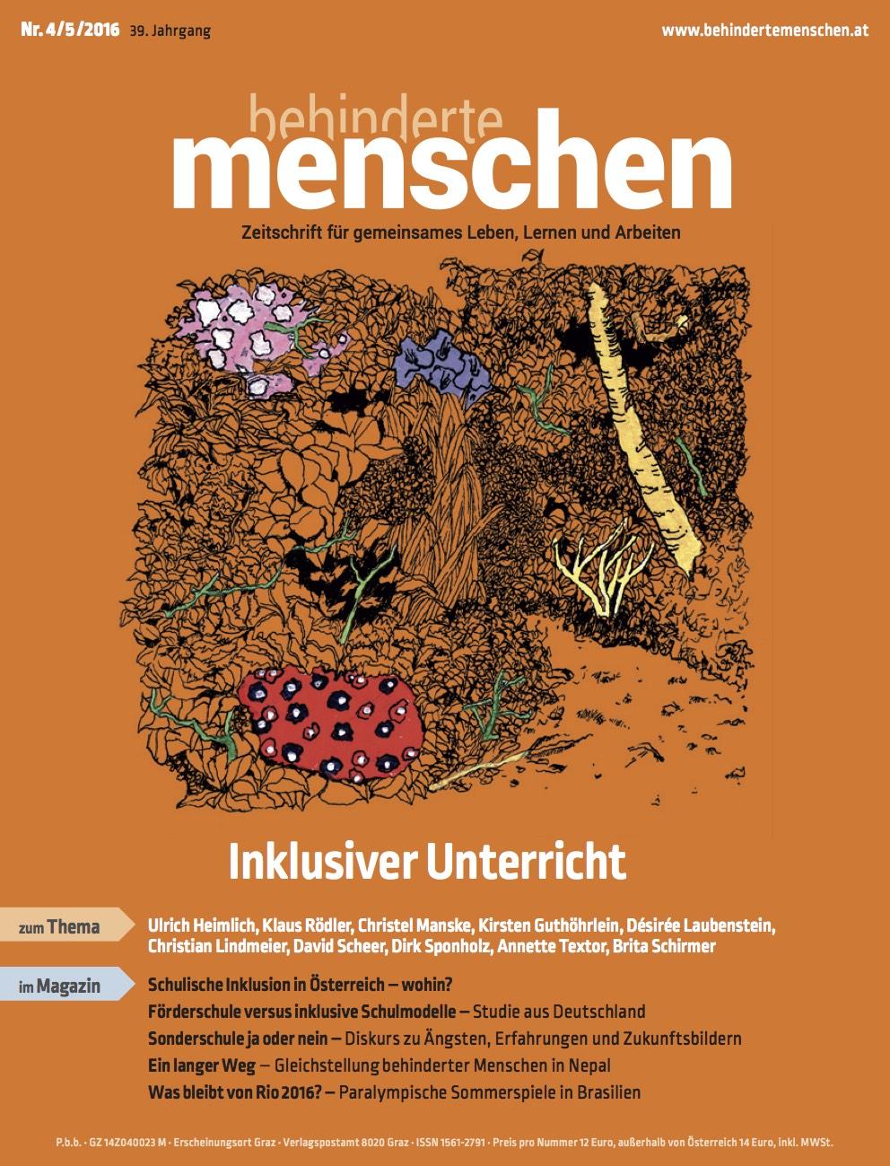 """Titelbild der Zeitschrift BEHINDERTE MENSCHEN, Ausgabe 4/5/2016 """"Inklusiver Unterricht"""""""