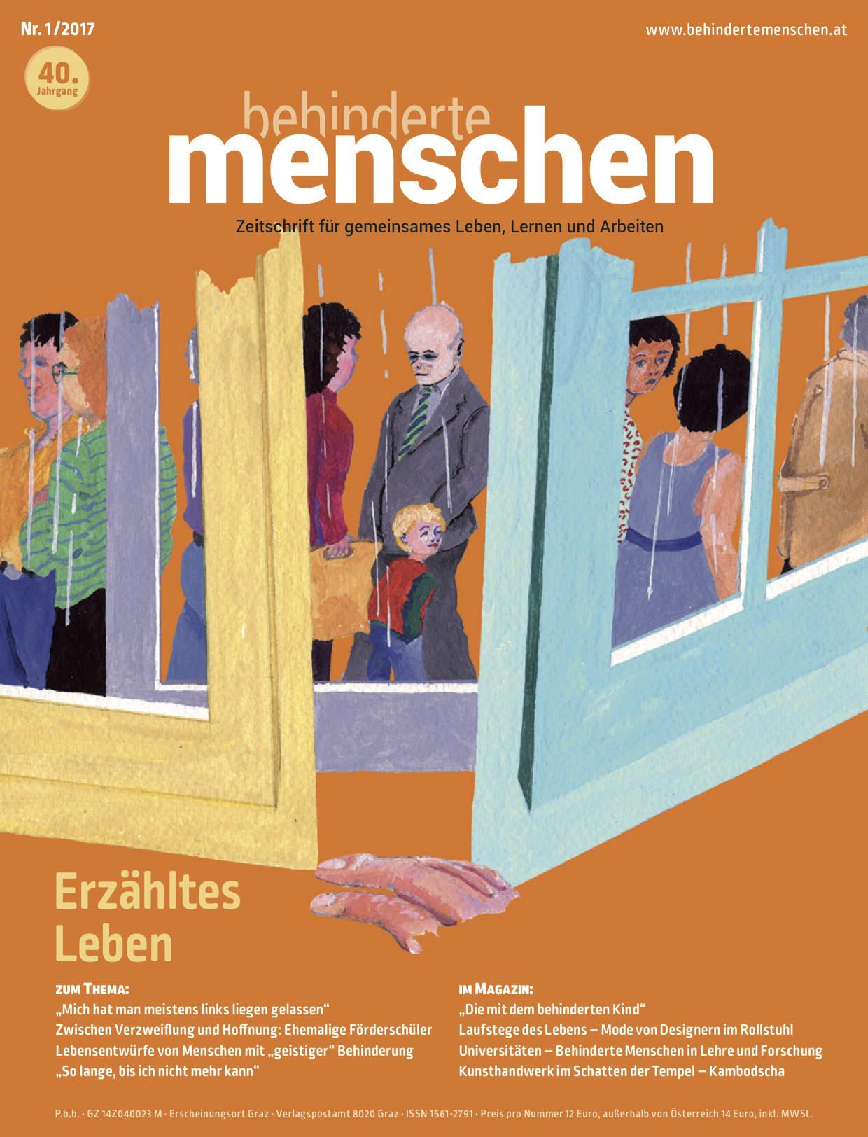 """Titelbild der Zeitschrift BEHINDERTE MENSCHEN, Ausgabe 1/2017 """"Erzähltes Leben"""""""