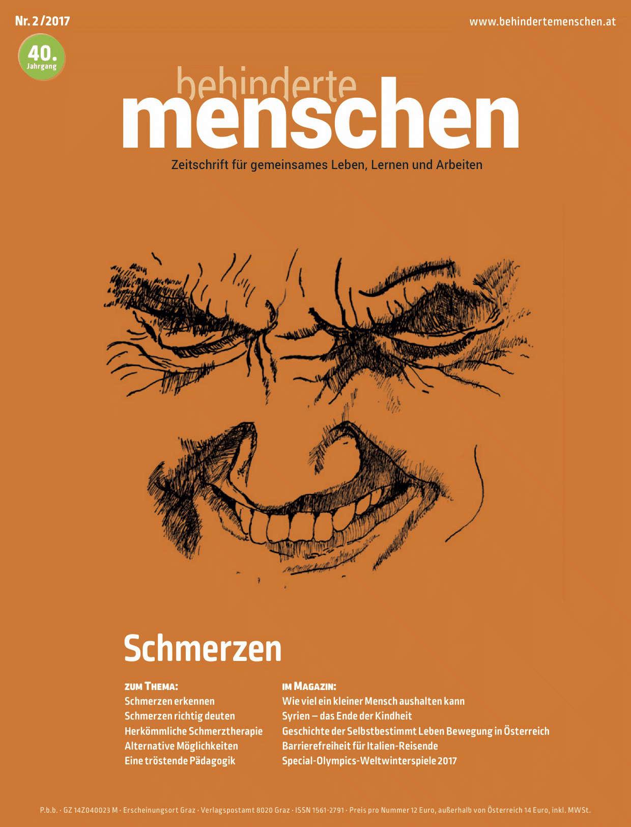 """Titelbild der Zeitschrift BEHINDERTE MENSCHEN, Ausgabe 2/2017 """"Schmerzen"""""""
