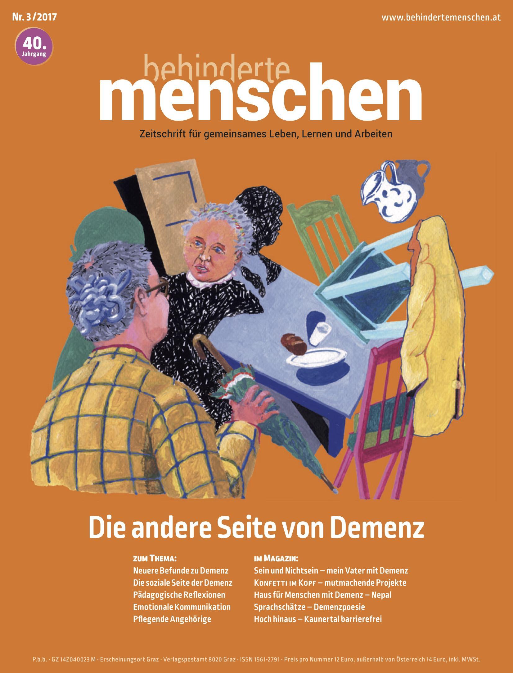 """Titelbild der Zeitschrift BEHINDERTE MENSCHEN, Ausgabe 3/2017 """"Die andere Seite von Demenz"""""""
