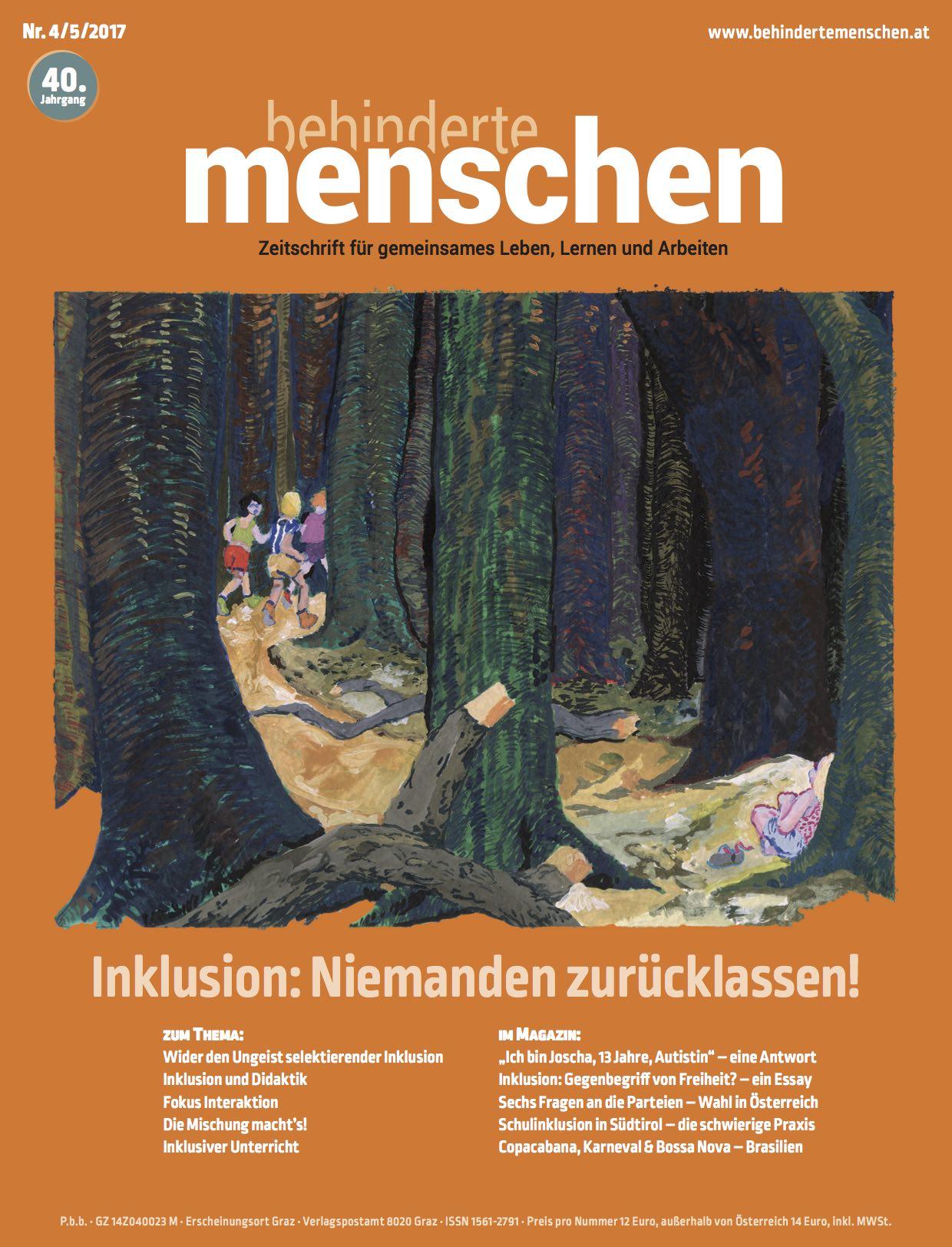 """Titelbild der Zeitschrift BEHINDERTE MENSCHEN, Ausgabe 4/5/2017 """"Inklusion: Niemanden zurücklassen!"""""""
