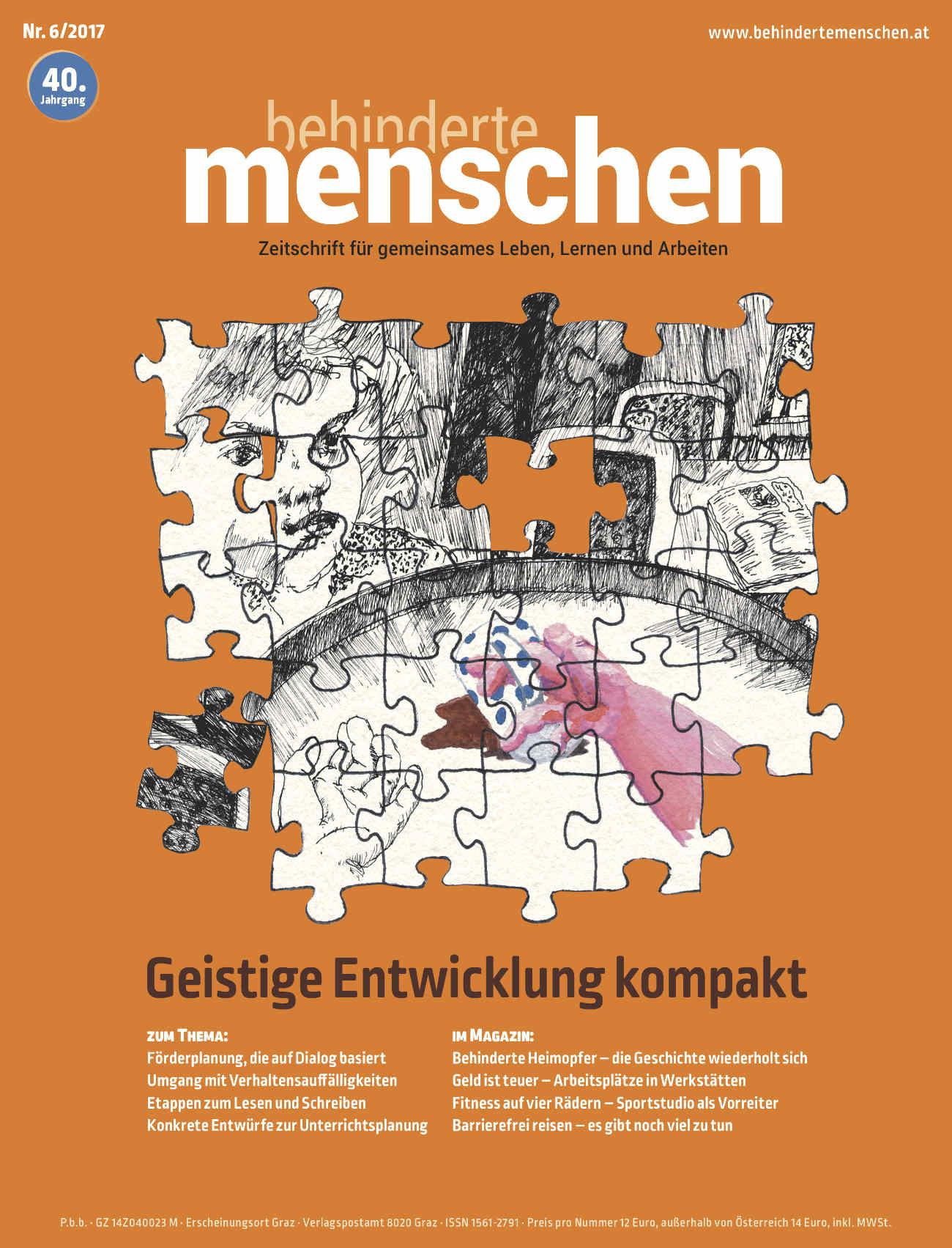 """Titelbild der Zeitschrift BEHINDERTE MENSCHEN, Ausgabe 6/2017 """"Geistige Entwicklung kompakt"""""""