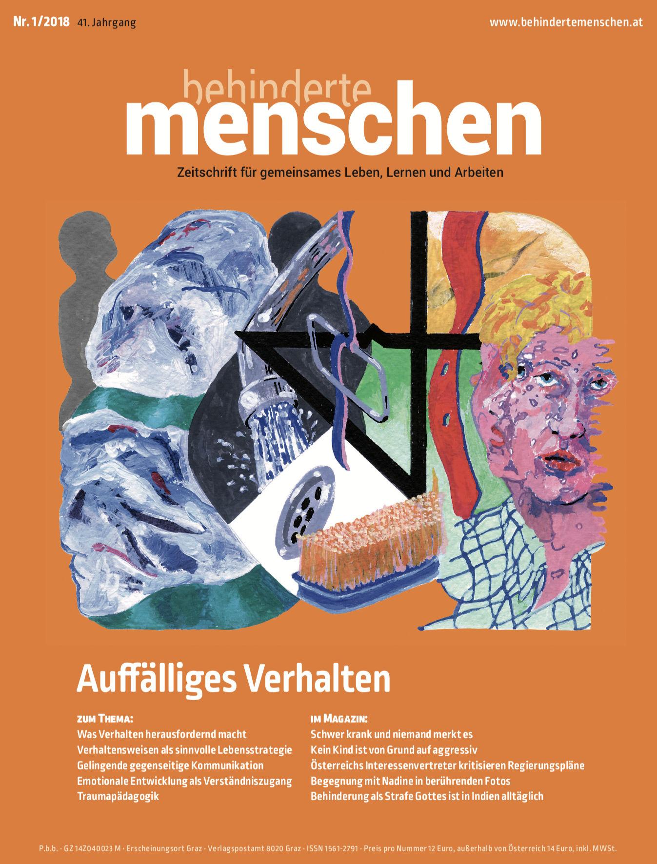 """Titelbild der Zeitschrift BEHINDERTE MENSCHEN, Ausgabe 1/2018 """"Auffälliges Verhalten"""""""